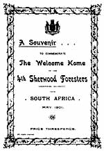 Souvenir programme for the welcome home of the 4th Sherwood Foresters from South Africa , May 1901.