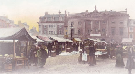 Postcard of Newark Market Place, c. 1905