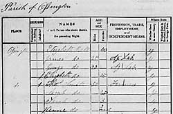 Extract from the 1841 Census Enumerator's Book covering the village of Ossington.