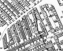 Extract from Salmon's map of Nottingham, 1861.