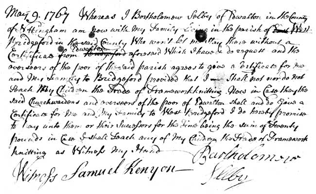 Letter dated 1767 from framework knitter Bartholomew Selby regarding a settlement certificate for his family (reproduced by permission of Nottinghamshire Archives [Ref: PR 3958].