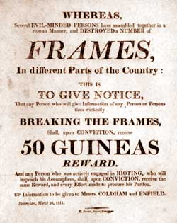 Poster produced in Nottingham in 1811 appealing for informants.