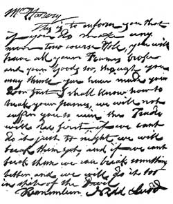 "Letter signed by ""Nedd Ludd""."