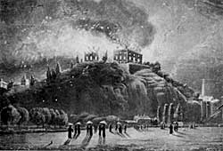 Nottingham Castle was set on fire by rioters on 10 October 1832.