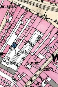 "The 1st edition 25"" to the mile Ordnance Survey map of Nottingham showing Bromley House in 1881."