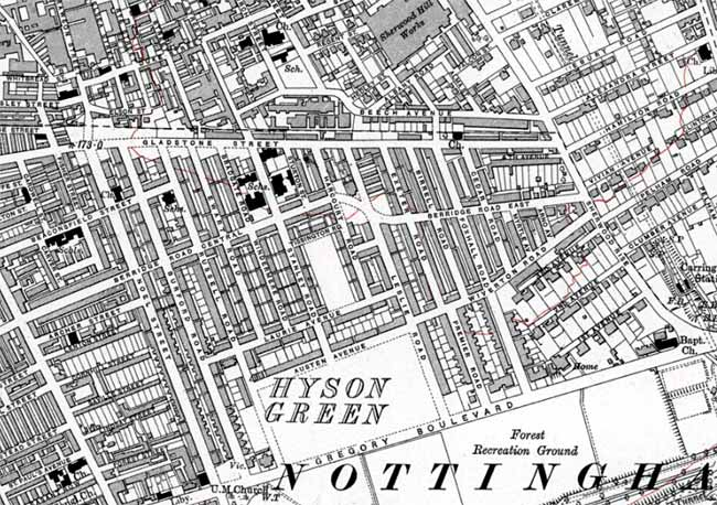 "Extract from Ordnance Survey 6"" to 1 mile map of 1920 showing the suburb of Carrington. Reproduced with the permission of the National Library of Scotland (http://maps.nls.uk/index.html)"
