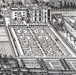 The formal gardens of Pierrepont House, Nottingham, c. 1720.