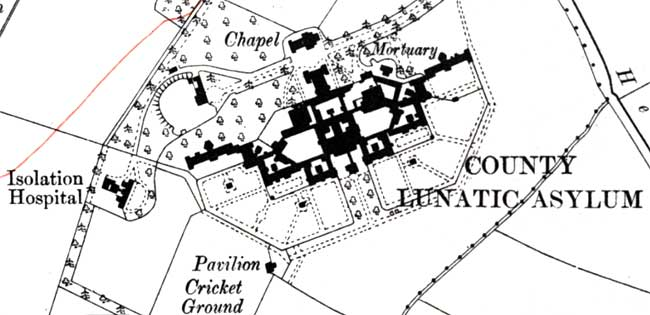 "Saxondale Hospital as depicted on the Ordnance Survey 6"" to one mile map published in 1915."