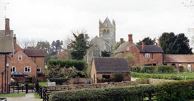 View of Laxton from the Dovecote Inn.