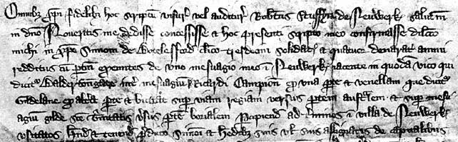 Grant by Robert Stuffyn to Simon Botelesford of rent from a property on Baldertongate, 1334.