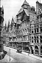 King Street, with its distinctive buildings by Watson Fothergill, was created in the 1880s after clearing the infamous slums in the Rookeries
