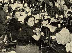 Workers in the Women's Knitwear Making-up Department at the Steppo Works of Stevens & Pedley, hosiery manufacturers (1939).
