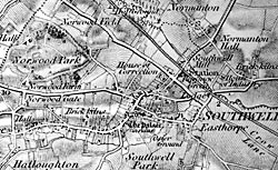1 inch Ordnance Survey map of Southwell (c.1883).