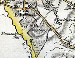 Eastwood as depicted on John Chapman's map of Nottinghamshire, published in 1774. The village developed around the western edge of a large area of common land.