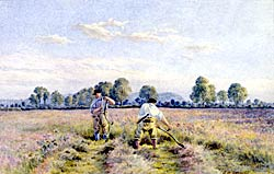 Scything grass in the Meadows, Nottingham, by S W Oscroft. (© Nottingham City Museums and Galleries; Nottingham Castle).