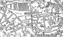 Lace Market – Central Nottingham in 1820 taken from Smith & Wild's map. The Conservation Area is delineated by dots.