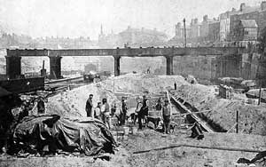 Navvies at work on the construction of Victoria Station in 1896.