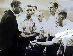 George Hall being introduced to the Duke of Kent at the England vs The Rest of Europe at Highbury, 1938.